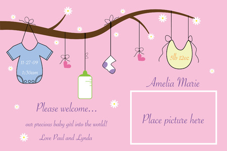hanging girl: Baby Announcement Illustration