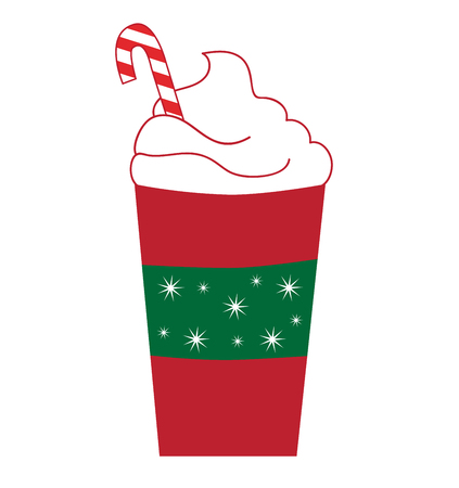 hot coffees: Candy Cane Peppermint Latte Illustration