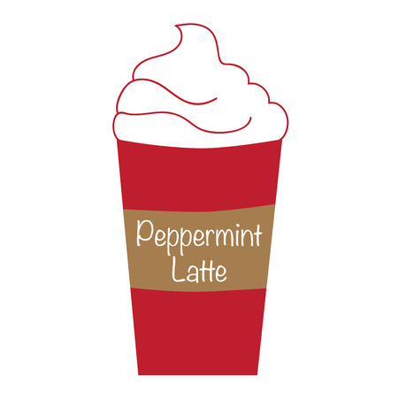 hot coffees: Whipped Peppermint Latte Illustration