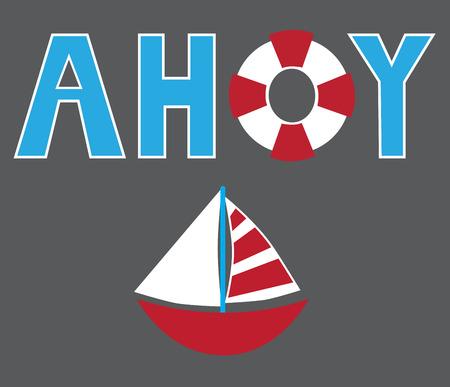 floatation: Ahoy Sailboat Illustration
