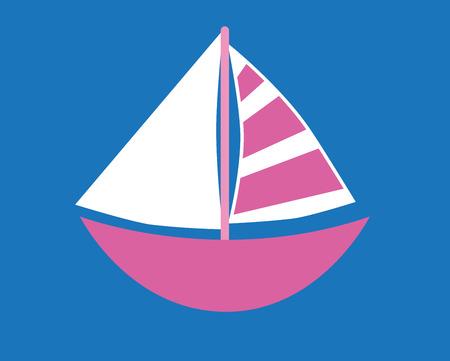 floatation: Pink Sailboat on Blue Background