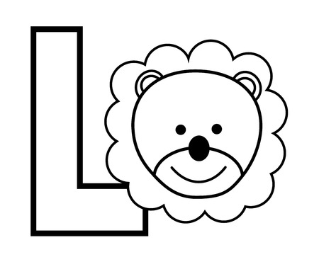 kindy: L is for Lion Coloring Page