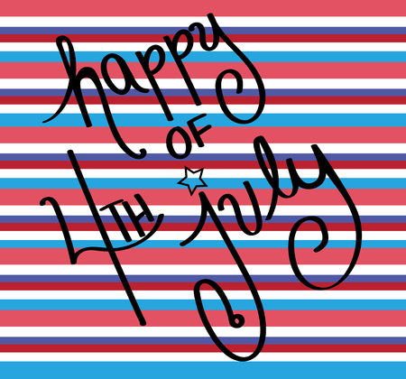 4th: Happy 4th of July Stripes Illustration