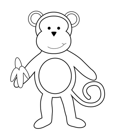 kindy: Monkey with Banana Coloring Page
