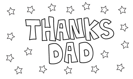 dada: Thanks Dad Stars Coloring Page Illustration