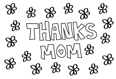 Thanks Mom Flowers Coloring Page