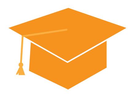 mortero: Casquillo de la graduación de color naranja Vectores