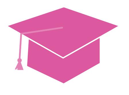 pink cap: Pink Graduation Cap Illustration