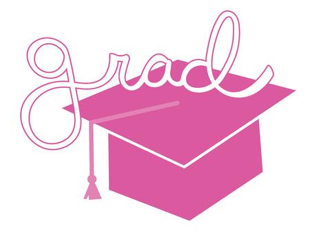 pink cap: Pink Grad Cap