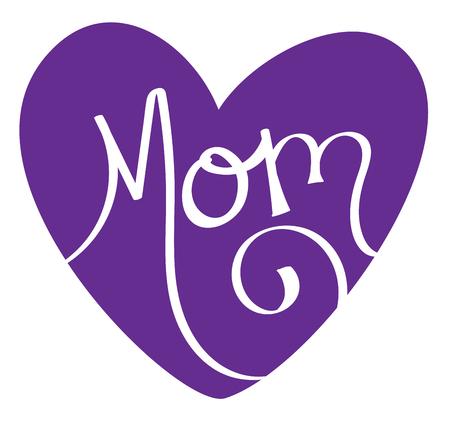 Purple Mom Heart Иллюстрация