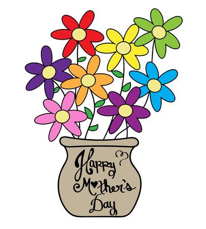Mother's Day Kleurrijke Flower Pot Stock Illustratie