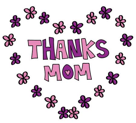 flower heart: Thanks Mom with Flower Heart