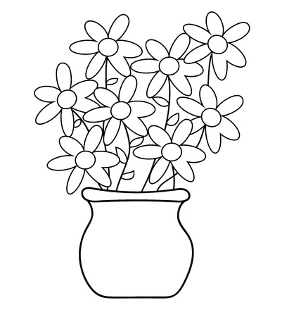 Flower Pot Coloring Page Royalty Free Cliparts Vectors And Stock