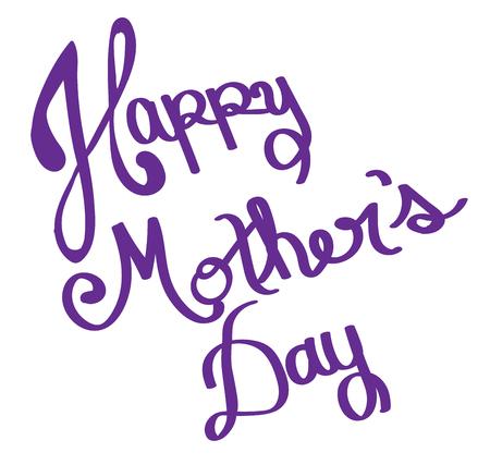 Happy Mothers Day Purple Lettering Иллюстрация