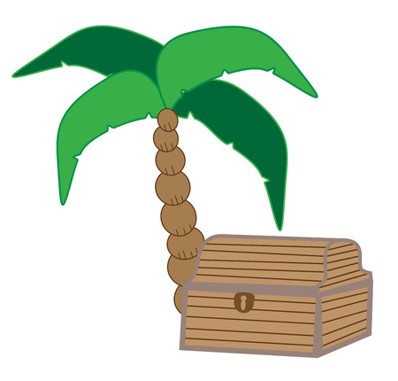 beach closed: Palm Tree with Treasure Chest