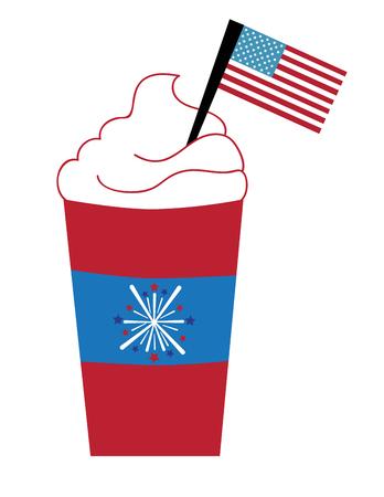hot coffees: Patriotic Coffee Illustration