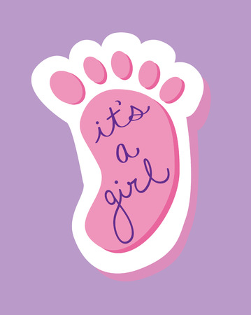 baby foot: Its a Girl Baby Foot Illustration