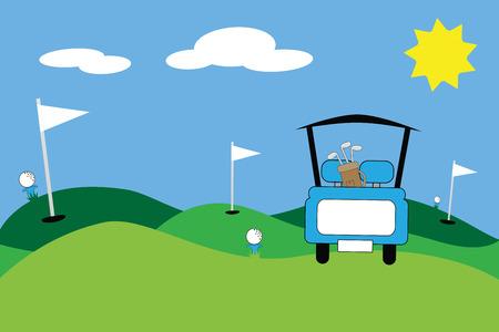 Blue Golf Cart Scene Illustration
