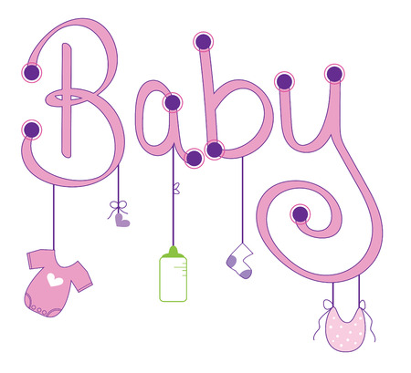 baby girl: Baby Girl Clothes Line Illustration