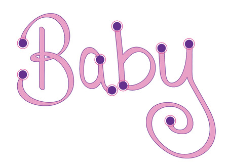 cute baby girls: Pink Baby Letters Illustration