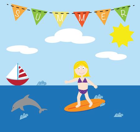 Summer Surfing Illustration