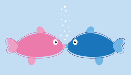 girls kissing: Fish Kissing with Bubbles