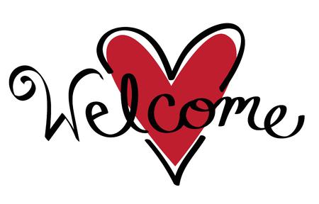 Red Heart Welcome Иллюстрация
