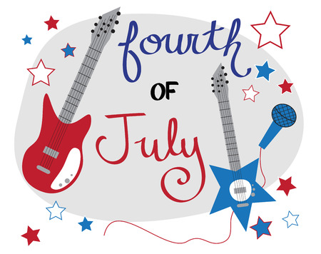 4th: 4th of July Rockstar Illustration