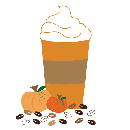 Pumpkin Coffee with Whipped Cream Illustration
