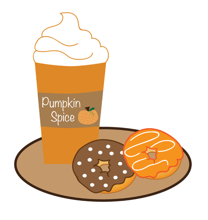 Pumpkin Spice Coffee and Donuts Illustration