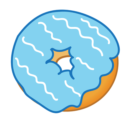 frosted: Blue Frosted Donut Illustration