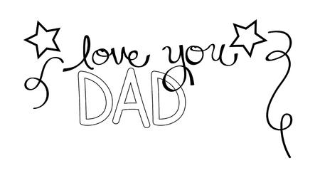 Love You Dad Coloring Page 矢量图像