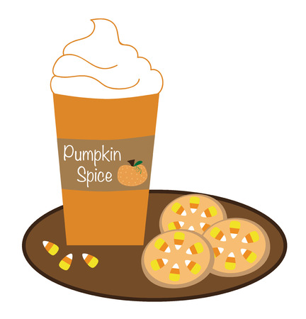 Pumpkin Coffee and Cookies Illustration
