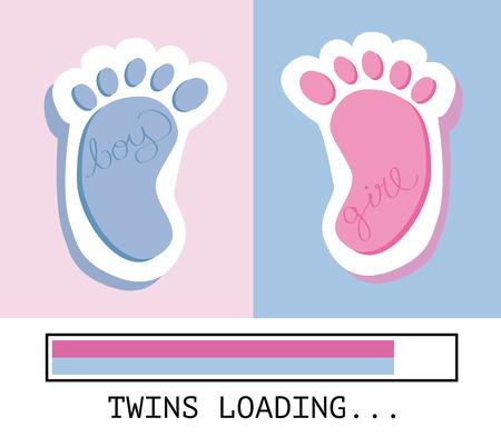 little girl feet: Twins Loading Illustration