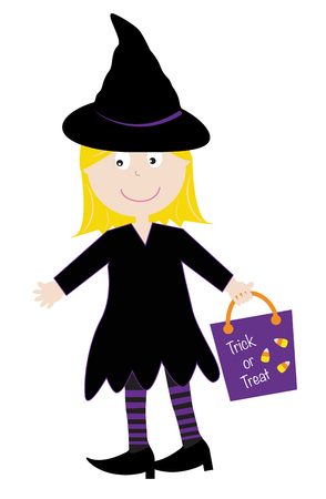 Witch Trick or Treater Illustration