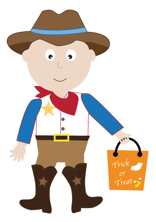 Cowboy Trick or Treater Illustration