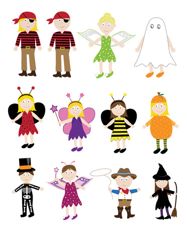 costume eye patch: Halloween Costumes Illustration