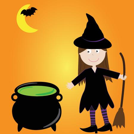 stirring: Halloween Witch Illustration