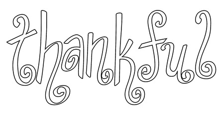 thankful: Thankful Coloring Page Illustration