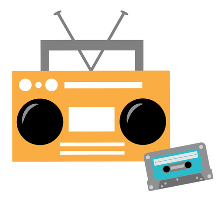 Boombox and Cassette Tape