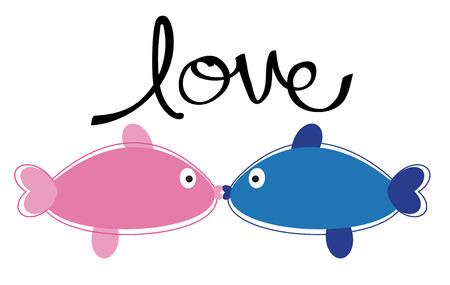 kissing: Kissing Fish in Love Illustration