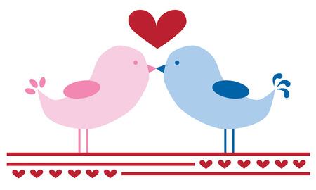 be happy: Love Birds Kissing Illustration