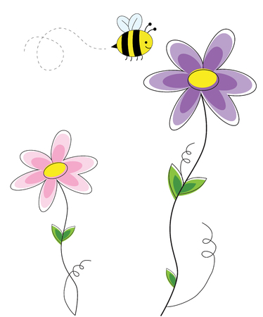 Cute Flowers with Bee Illustration