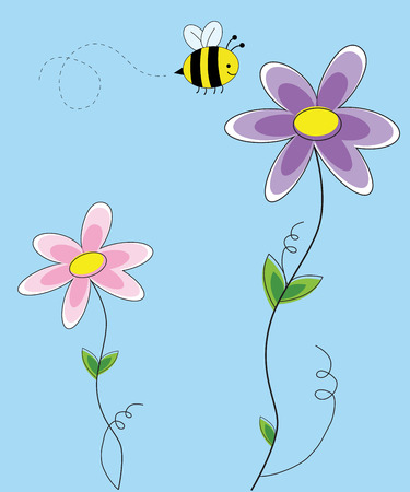 Flowers with Bee Illustration