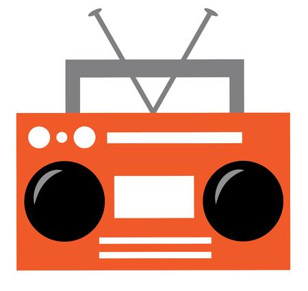 Orange Boombox Illustration