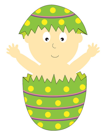 broken eggs: Easter Baby Illustration