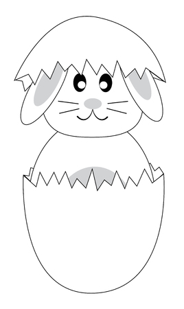 Easter Bunny Coloring Page Illustration