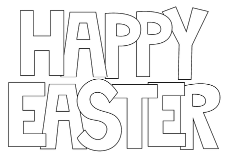 Happy Easter Letters Coloring Page