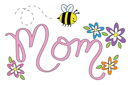 Mom Lettering with Flowers and Bee