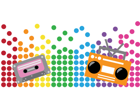 Boombox and Cassette Illustration